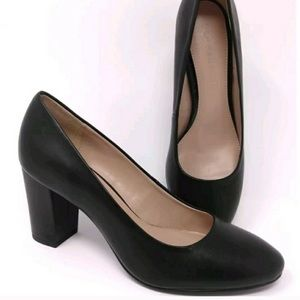 H by Halston Black Lena Block Leather Shoe